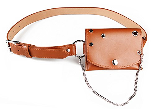 Womens leather fanny pack,VITORIA'S GIFT removable Round buckle Belt with MINI Purse Travel Cell pocket money Bag by VITORIA'S GIFT (Image #3)