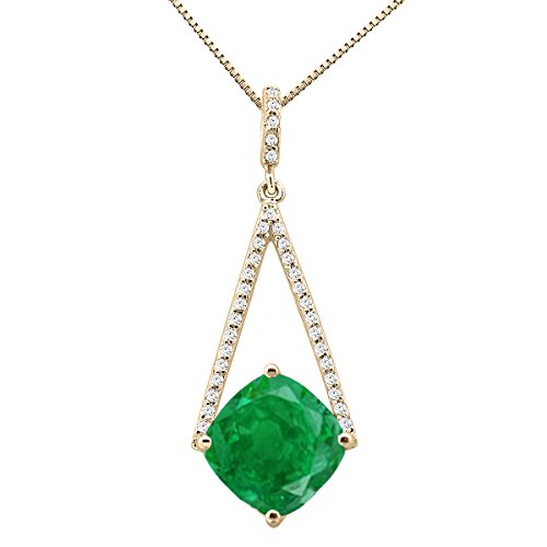 10k Gold 18' Chain - 4.10Ct Ttw Elegant Design Diamond And Cushion Cut Gemstone Pendant In 10K Yellow Gold With 18'' Chain