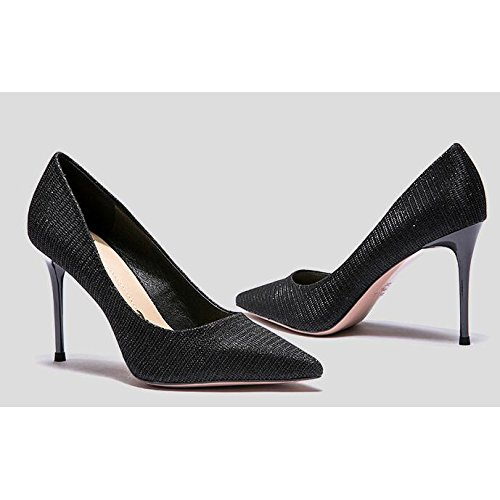 8 5cm EU Femme Mode Chaussures Party 5 Chaussures De Sexy Noir Talons Black 38 UK Nightclub 5 Mariage Mariage Hauts Travail Femmes TBrxwZTqa