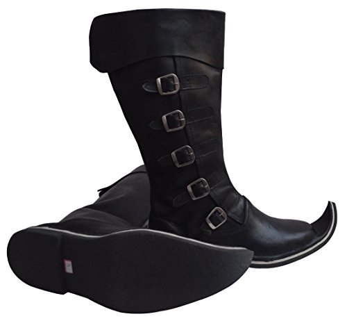 Sca Medieval Costumes (Medieval Leather Boots Re-enactment Shoes Sca Larp Riding Costume Boot (Black, 12))
