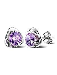 Acxico High Quality Luxury 925 Sterling Silver Inlay Diamond Women¡¯s Heart Shape Stud Earrings