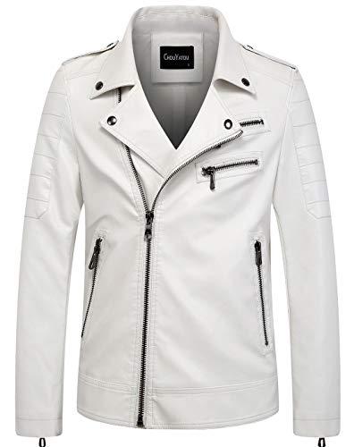 chouyatou Men's Vintage Asymmetric Zip Lightweight Faux Leather Biker Jacket (Medium, White)