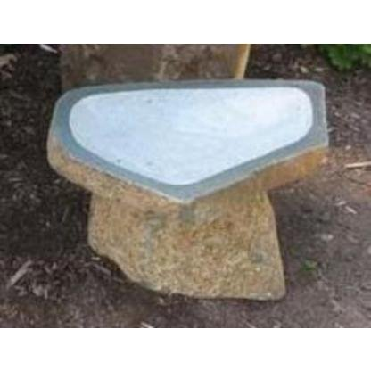 Stone Age Creations BB-BO-4 Granite Boulder Birdbath, Natural, Small - Granite Birdbath
