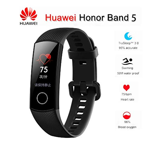 "Huawei Honor Band 5 0.95"" Full Touch AMOLED Color Screen Smart Bracelet Heart Rate Monitor Sleep Monitor Blood Oxygen Monitor Home Button All-in-One Activity Tracker GPS 5ATM Waterproof (Black)"
