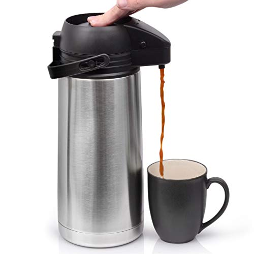 64 Oz (1.9 Liter) Airpot Coffee Dispenser with Easy Push Button | BPA-Free Stainless Steel Carafe | Double-Wall Vacuum…