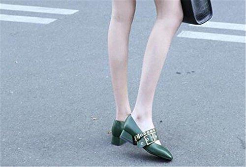YEEY Autom cierre de los pies zapatos para mujeres cuadradas Head talón áspero cinturón hebilla de cuero genuino zapatos de trabajo banquete negro Green