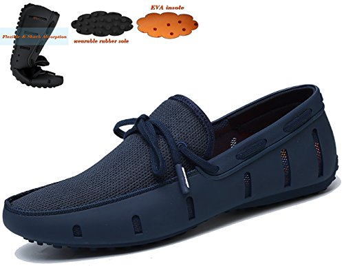 Go Tour Men's Fashion Casual Boat Shoes Braided Lace Loafer breathable Slip on Shoes for Pool, Beach, Driving Navy 42