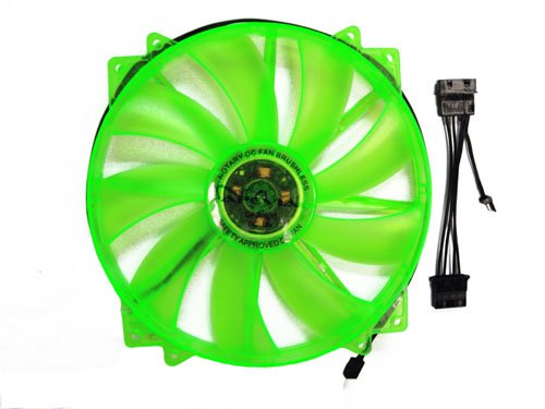 APEVIA CF20SL-UGN 200mm SILENT Green LED Case Fan with 3Pin & 4Pin Connectors