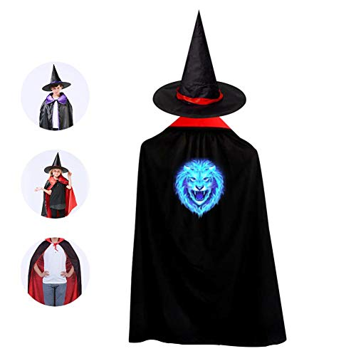Kids Blue Fire Lion Halloween Costume Cloak for Children Girls Boys Cloak and Witch Wizard Hat for Boys Girls -