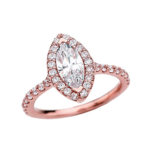 Elegant 10k Rose Gold Marquise CZ Solitaire Engagement/Promise Ring (Size 9)