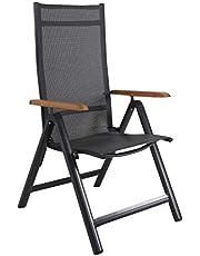 Strandgut07 Aluminium luxe klapstoel tuinstoel aluminium stoel 4x4 textiel armleuningen van acacia zwart