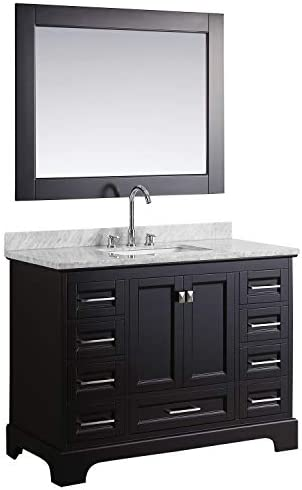 Luca Kitchen Bath LC48JEW Chole 48 Single Sink Bathroom Vanity Set in Espresso with Carrara Marble Top and Mirror