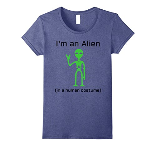 [Womens Extra Terrestrial Alien in a Human Costume T-Shirt Small Heather Blue] (Extra Terrestrial Costume)