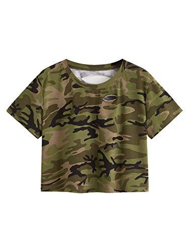- SweatyRocks Tshirt Camo Print Distressed Crop T-shirt Multicolour #6 XL