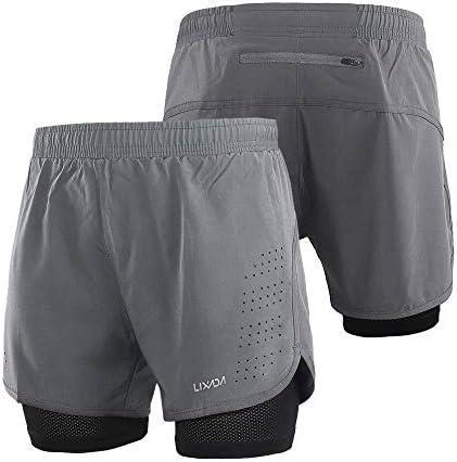 1ショーツメンズ速乾性通気性のアクティブトレーニングスポーツジョギング・マラソンサイクリングフィットネスで2 (Color : Grey, Size : L(EU))
