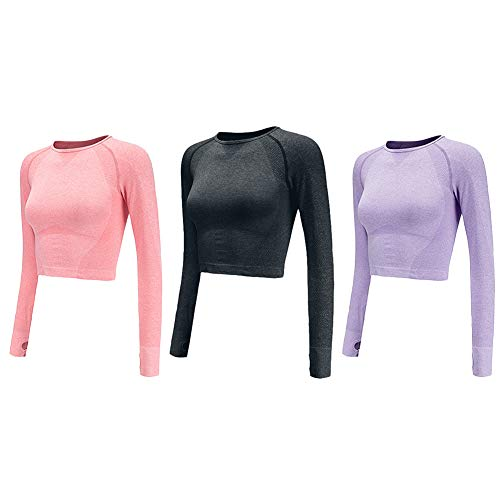 PingBei Women Seamless Long Sleeve Yoga Shirts Crop Top Thumb Hole Sportswear Fitted Gym Running Outfits