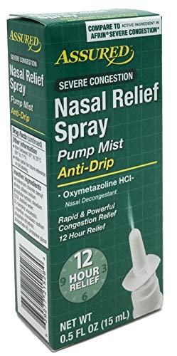 Nasal Relief Spray, Pump Mist, Anti-drip, Severe Congestion, (Oxymetazoline HCI) 12 Hours, 3 ()