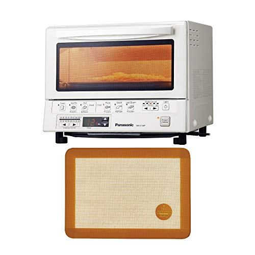 Panasonic FlashXpress Compact Toaster Oven with Double Infrared Heating (White) with Baking Silicone Toaster Oven Mat bundle (2 Items)