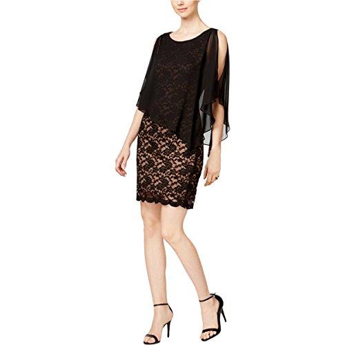 (Connected Apparel Womens Petites Lace Cape Cocktail Dress Black 10P)