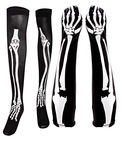 Blue Panda Halloween Skeleton Stocking and Long Arm Gloves - Costume Cosplay Accessory for Women, Teens