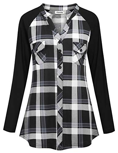 Ouncuty Plaid Shirts for Women, Junior Trendy Nicely Athletic Activewear Long Sleeve Grid Shirts Feminine Flexible Patch Cotton Blouses Spandex Light Jersey Hipster Tartan Shirts Black White Blue 2XL