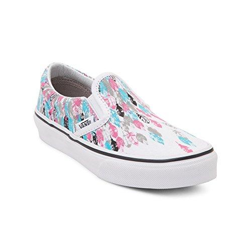 Vans Classic Slip-On Youth US 3 Multi Color Skate Shoe (Girl Vans)