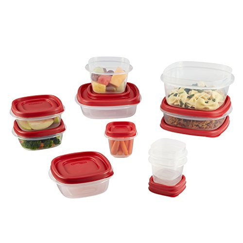 Rubbermaid Easy Find Lids 20-Piece Food Storage Container Set, Clear with Red Tabs