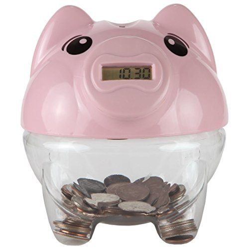 (Lily's Home Kid's Money Counting Piggy Digital Coin Bank, Counts U.S. Pennies, Nickels, Dimes, Quarters, Half Dollars, and Dollar Coins, Ideal for Learning or Play, Pink (5.5