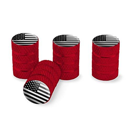 Subdued American USA Flag Black White Military Tactical Tire Rim Wheel Aluminum Valve Stem Caps - Red