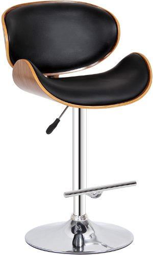 Creative Images International Modern Collection PU Leather Height Adjustable Swivel Bar Stool with Gas Lift and Walnut Wood Accents, Black ()
