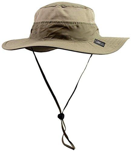 Camo Coll Outdoor UPF 50+ Boonie Hat Summer Sun Caps (One Size, Dark Khaki)