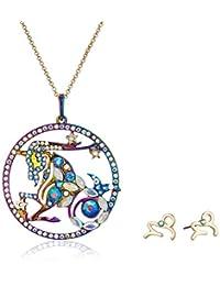 Betsey Johnson Women's Capricorn Zodiac Necklace and Earrings Set, Multi, One Size