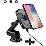 Qi Wireless Car Charger Mount, CLEEBOURG Infrared Automatic Induction Car Charging Holder Fast Wireless Phone Holder Air Vent Charging Bracket for iPhone XR XS Max X 8 8+ Samsung All Qi Enabled Phones