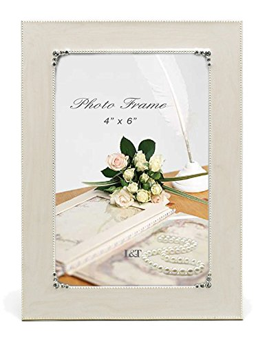 (L&T Elegance Metal Picture Frame Silver Plated with Cream White Enamel and Crystals, 4 x 6 Tabletop Photo Frame)