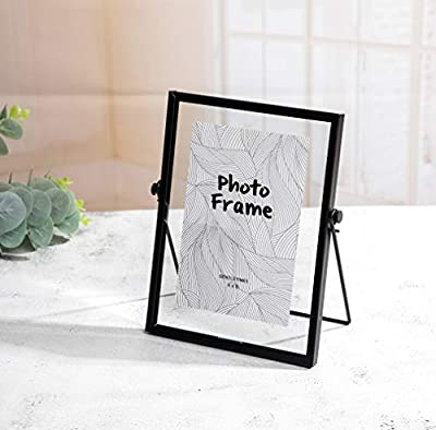 "FLY SPRAY Metal Photo Frame Free Standing Collection Picture Frame Decor with Plexiglas Cover High Definition Glass Desk Photo Display Pictures 4""x 6"" Black"