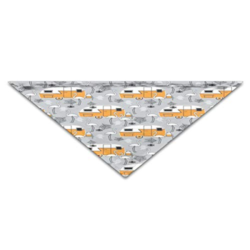 Puppy Dog Cat Pet Scarf Halloween Trailers and Flamingos On Grey 11.8x27.5 inches Dog Bandanas