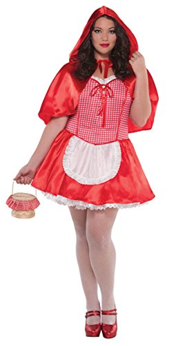 Amscan Women's Red Riding Hood Halloween Costume Plus,Red/White, 18-20