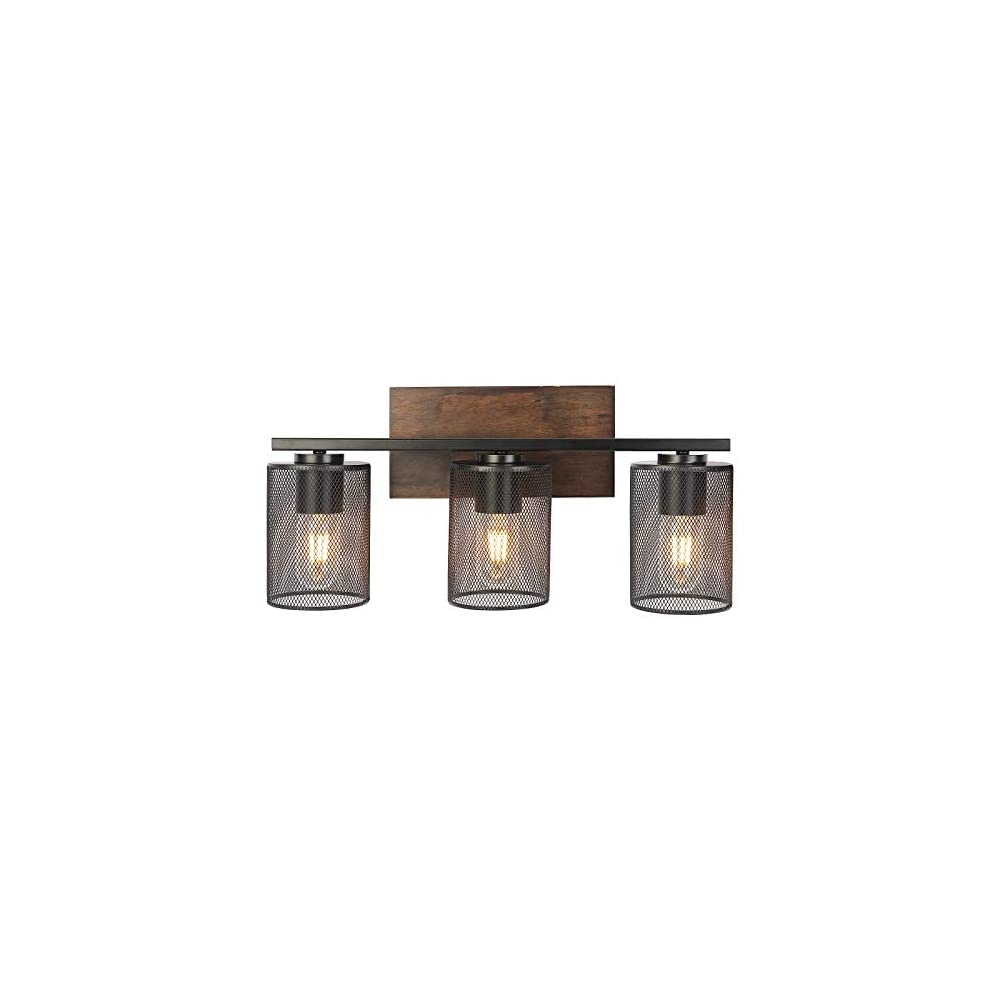 DRNANLIT Rustic Vanity Lights, 3-Light Farmhouse Bathroom Wall Sconce with Antique Wood Finish and Metal Mesh Shade…