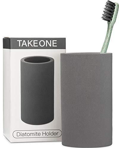 TAKEONE. Bathroom Toothbrush Holder Modern Gray Stand - Handmade Natural Organic Shower Sanitary Storage Cup - Grey Ceramic Diatomite Counter Vanity Accessories Organizer.