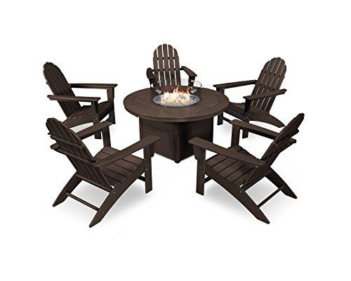 POLYWOOD Vineyard Adirondack 6-Piece Chat Set with Fire Pit Table (Mahogany) ()
