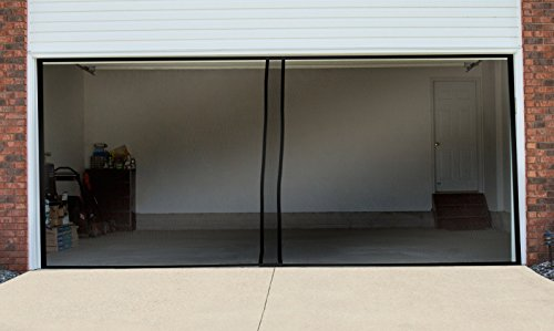 Pure Garden Two Car Garage Door Screen Curtain Black 202 X 90 (Two Car Garage Doors)