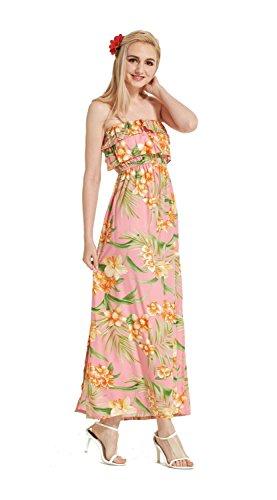 Made in Hawaii Hawaiian Luau Muumuu Double Ruffle Shoulderless Maxi Dress in Pink with Yellow Floral M