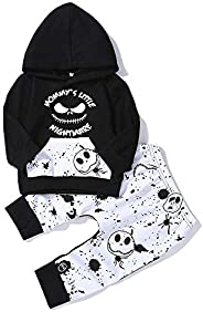 FUTERLY Halloween Baby Boy Girl Clothes 2PCs Outfit Set Nightmare Before Christmas T-Shirt and Skull Pants 0-6