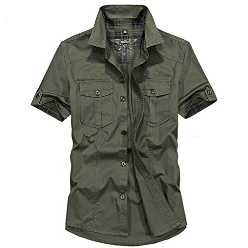 Zackate Men's Casual Military Solid Color Shirts with Pockets Slim Fit Short Sleeve T-Shirt Top Blouse Green