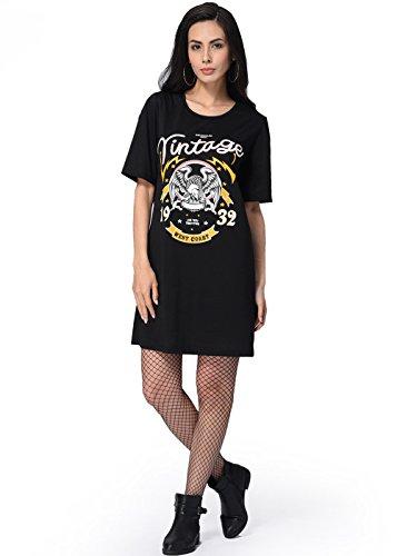 Mini vestido de verano para las mujeres de manga corta O cuello camiseta casual de largo Negro
