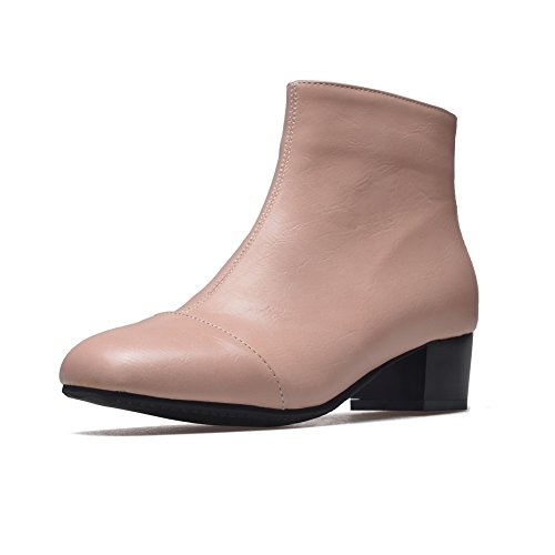 Pink AdeeSu Urethane SXC02402 Womens Square Heels Boots Zip Square Toe HzwHfpq