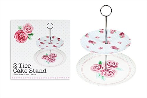2 Tier Cake Stand Afternoon Tea Rose Design Wedding Plates 20cm & 26.5cm RSW