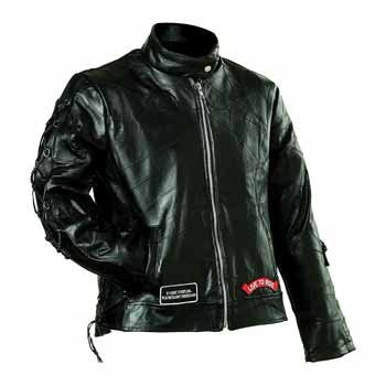 Diamond Plate Ladies' Rock Design Genuine Buffalo Leather Motorcycle Jacket- 2X