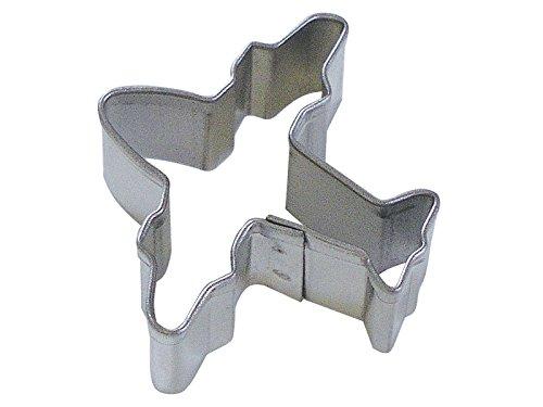 CybrTrayd R&M Airplane Tinplated Steel Cookie Cutter, Mini, Silver, Bulk Lot of 12