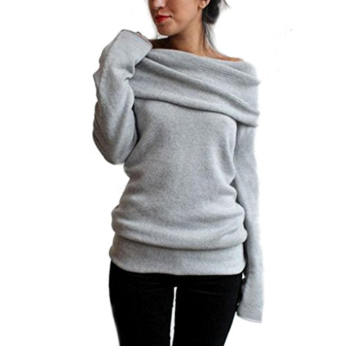 WOCACHI Damen Frauen Langarm Piles Kragen Hemd Sweatshirt Strickjacke Mantel Pullover (L, Grau)